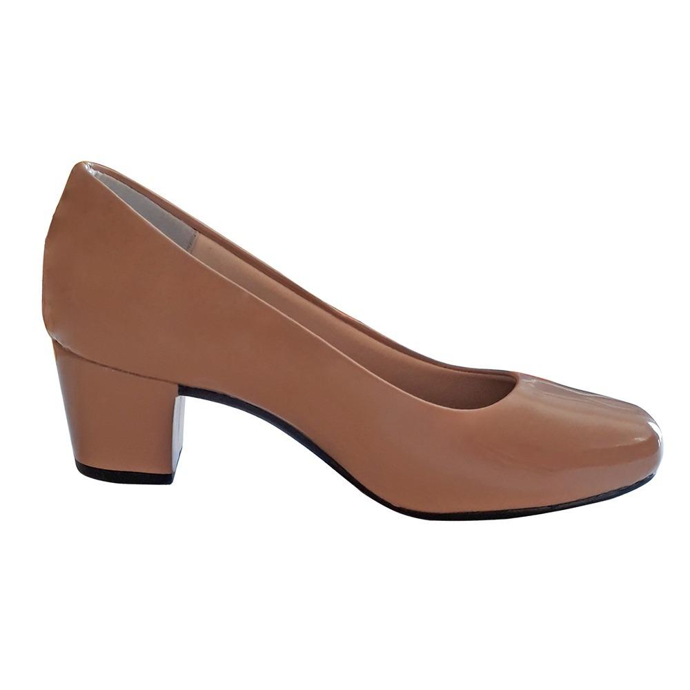 5ffd93285 sapato feminino nude salto 5cm baixo grosso boneca scarpin. Carregando zoom...  sapato feminino boneca scarpin. Carregando zoom.
