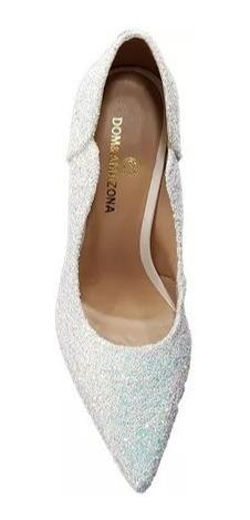 959f50e4f Sapato Feminino Branco Noiva Glitter Salto Alto Casamento 3 - R$ 169 ...