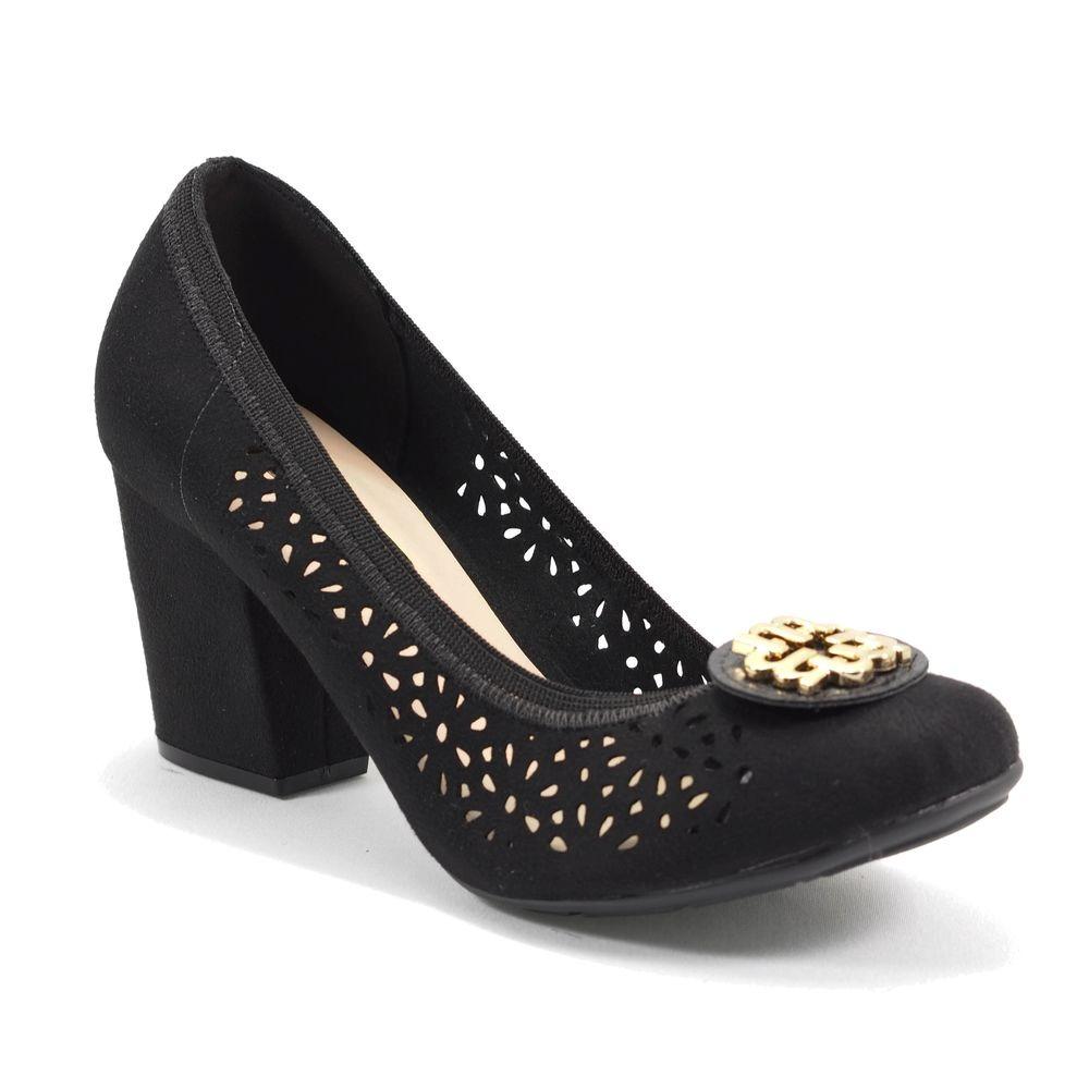fa1930ea6cd Sapato Feminino Camurça Flex Perfurado Preto Moleca - R$ 61,29 em ...