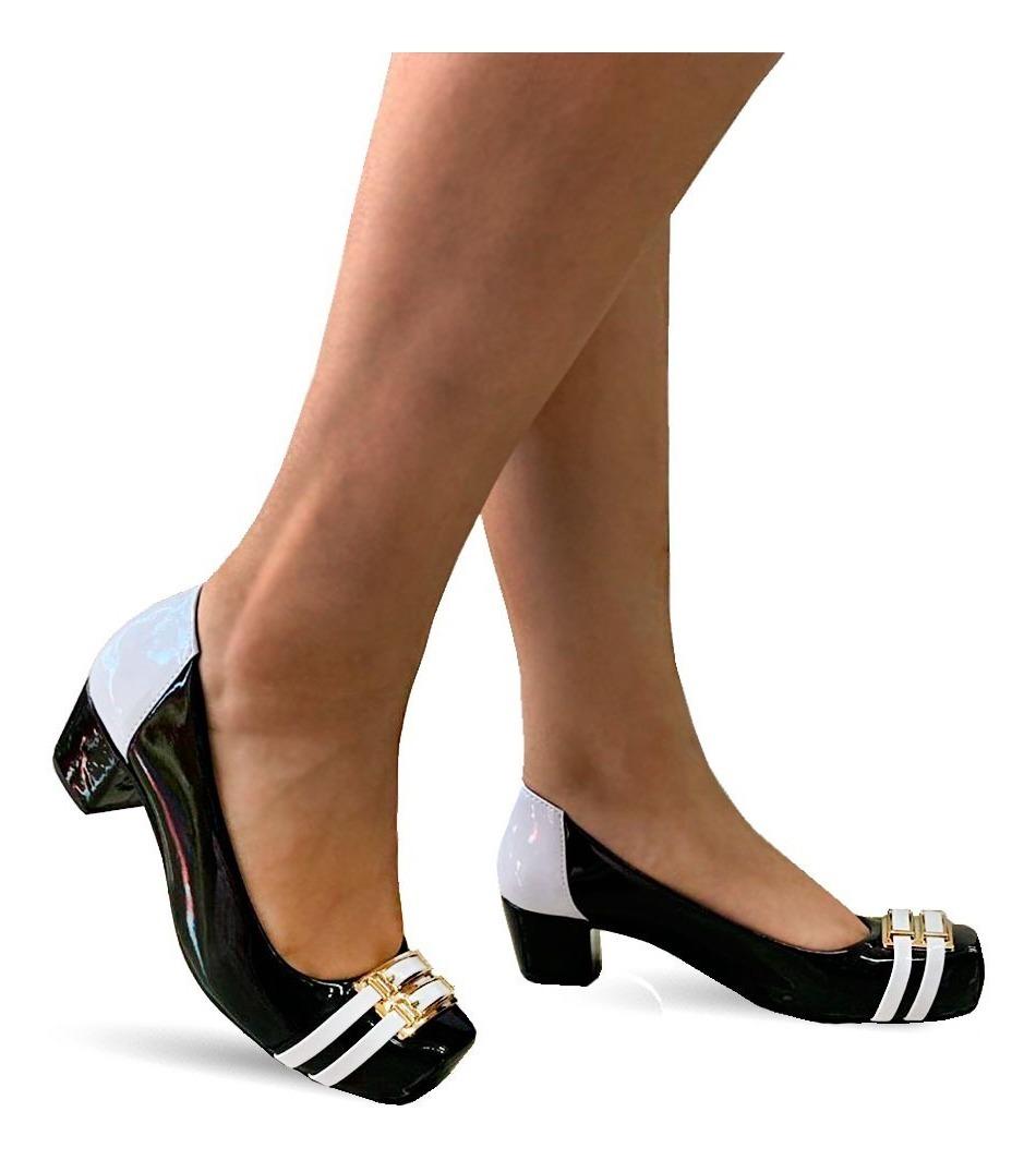 54585fecc sapato feminino confortavel salto baixo medio grosso 4042. Carregando zoom.