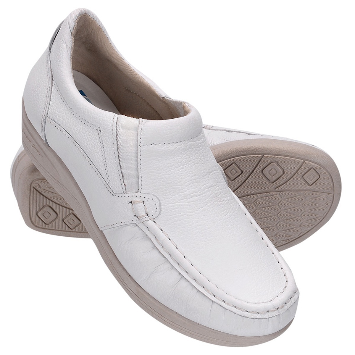 1aee06cb89 sapato feminino couro anabela extra conforto saúde branco. Carregando zoom.