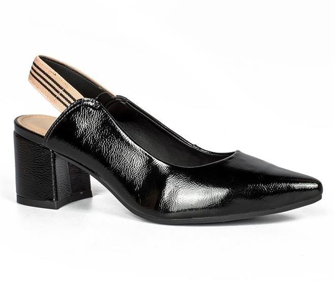 fffea5e400 Sapato Feminino Dakota Chanel Salto Bloco Verniz Preto G0463 - R ...