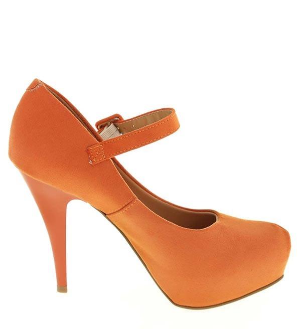 6c838b4d1d Sapato Feminino Laranja Camurça Flex Vizzano Salto 12cm - R  139