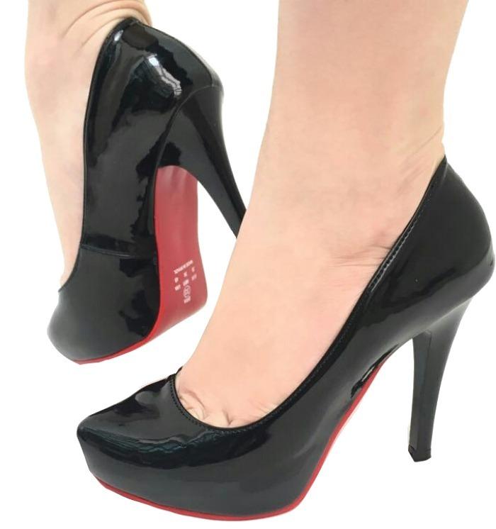 684ddace5 Sapato Feminino Meia Pata Boneca Salto Alto Sola Vermelha - R  149 ...