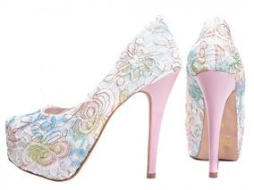 8729b0e36 Sapato Meia Pata Peep Toe Renda Feminino Moda Top Torricella ...