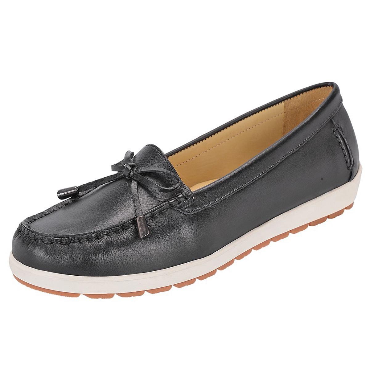 6d900a6d40 sapato feminino mocassim casual 100% couro legítimo preto. Carregando zoom.