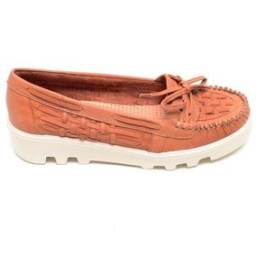 2cf8db2d47416f Sapato Feminino Mocassim Solado Tratorado Luz Da Lua Caramel