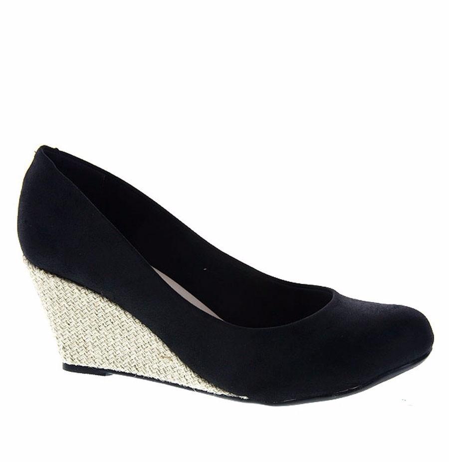 a53450f40 sapato feminino moleca salto anabela preto camurça original. Carregando  zoom.