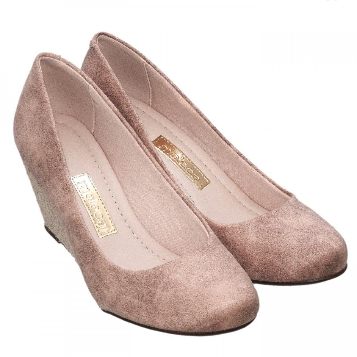 8d5752d038 sapato feminino moleca salto anabela preto camurça original. Carregando zoom .