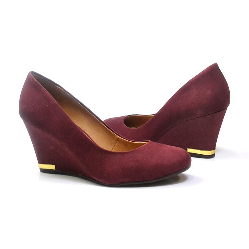 00a6ee535 sapato feminino nobuck merlot vermelho vinho zeket anabela. Carregando zoom.