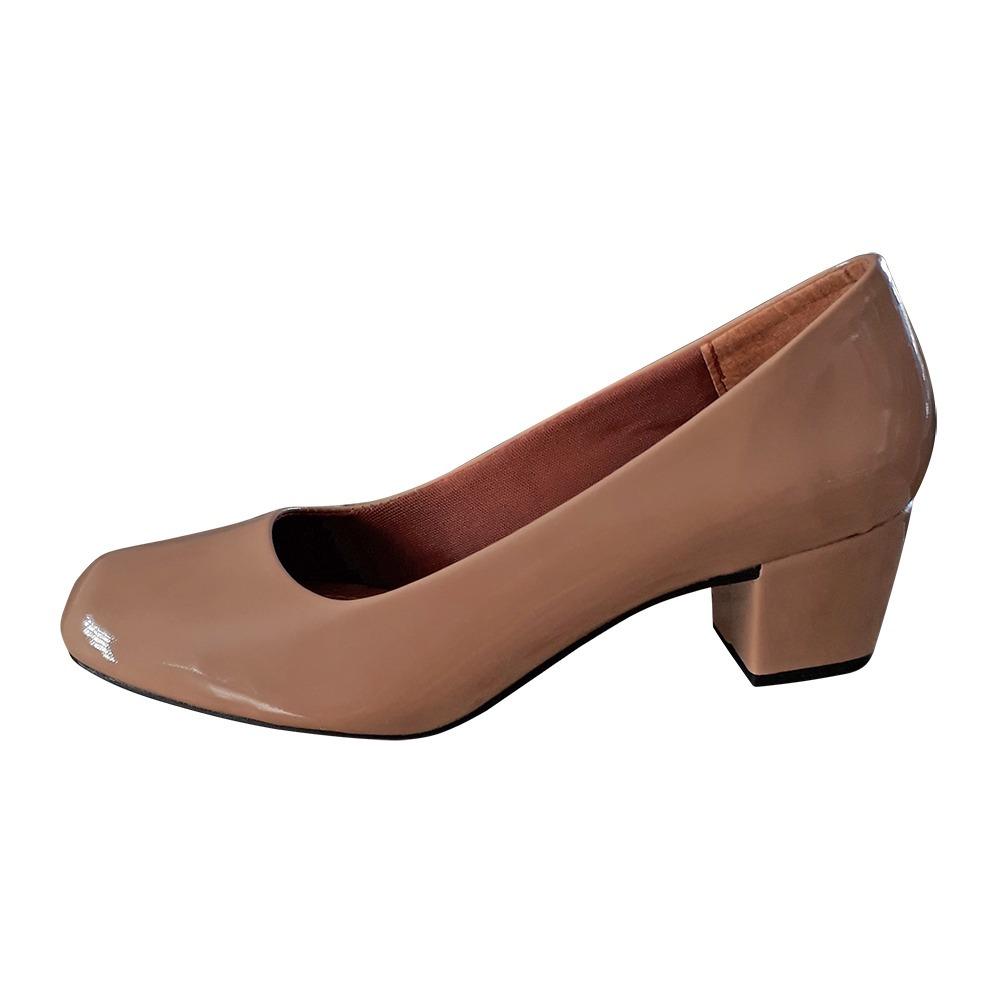 0e9e4c62fa sapato feminino nude salto 5cm baixo grosso boneca scarpin. Carregando zoom.