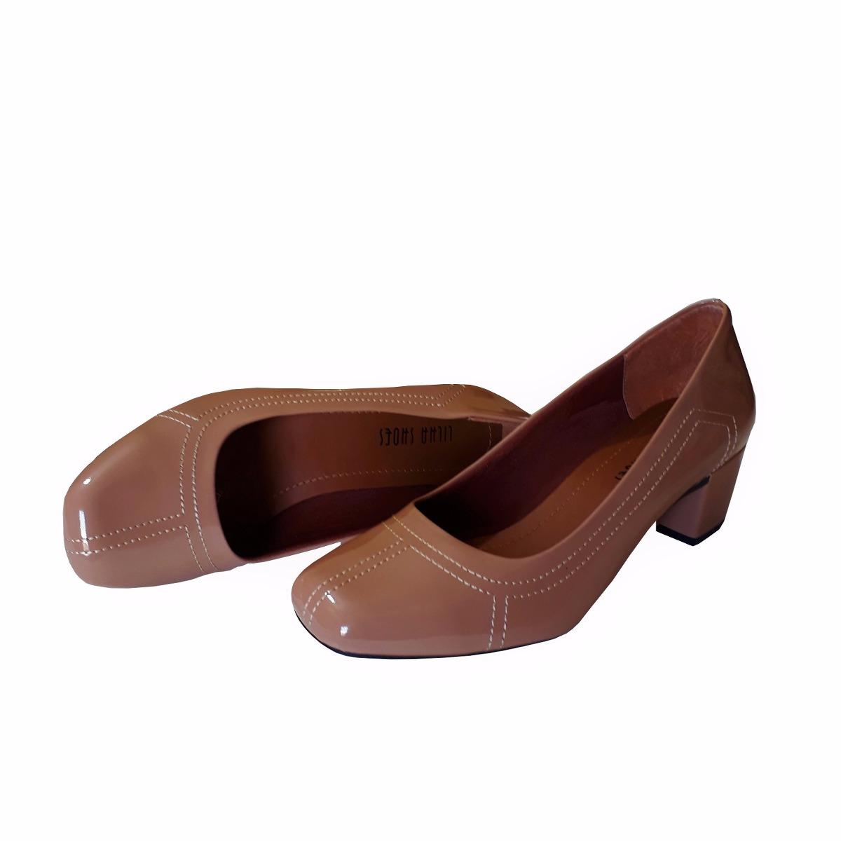 b9f82fb1a5 sapato feminino nude verniz salto baixo grosso boneca social. Carregando  zoom.