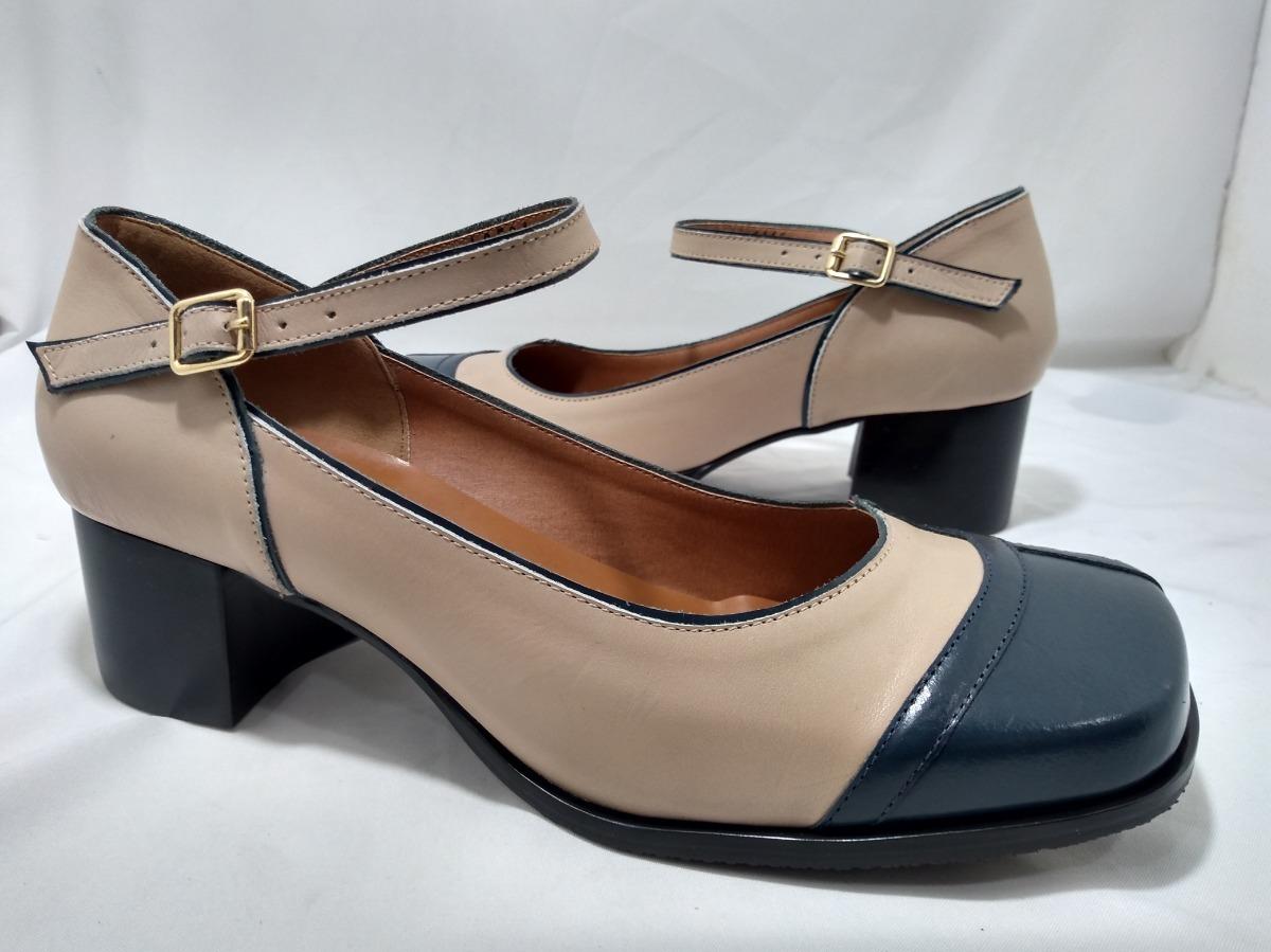 f51783a4e6 sapato feminino numeros especiais marinho  nude 10561. Carregando zoom.
