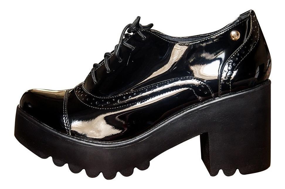 aab5e5898 sapato feminino oxford salto tratorado preto verniz ref735. Carregando zoom.