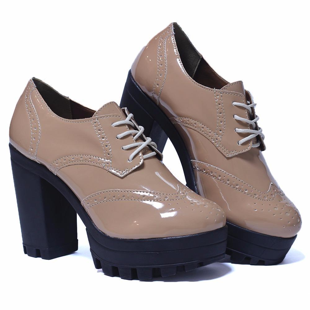 7709eebf1e sapato feminino oxford tratorado nude verniz. Carregando zoom.
