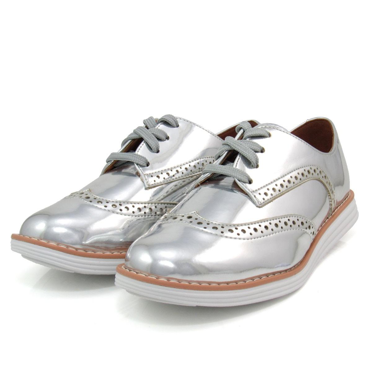 63a2e71f78 sapato feminino oxford vizzano 1231101 metalizado. Carregando zoom.