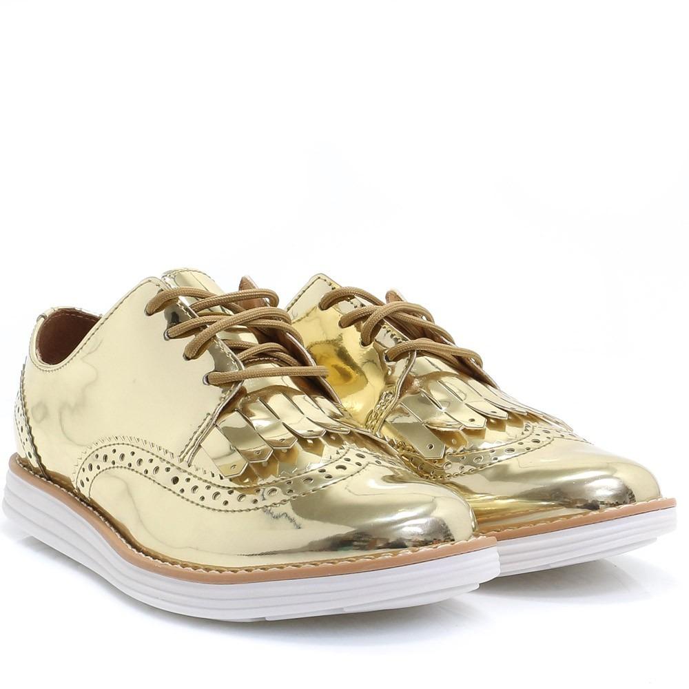 7d5f156195 Sapato Feminino Oxford Vizzano Dourado Metalizado - R  89