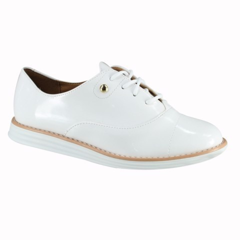3a470aca8b Sapato Feminino Oxford Vizzano Branco Verniz - R  99
