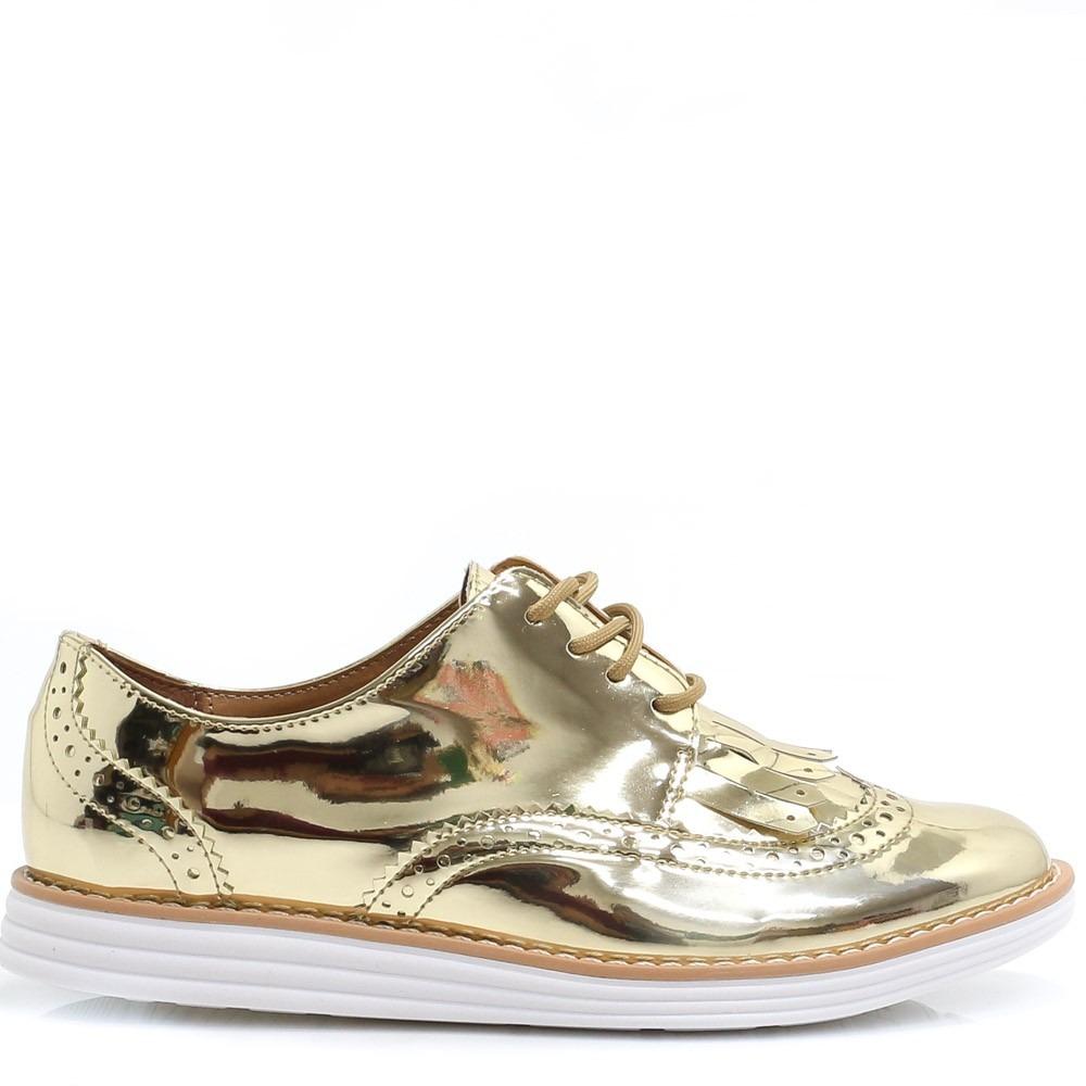 eb64a42529 sapato feminino oxford vizzano dourado metalizado. Carregando zoom.
