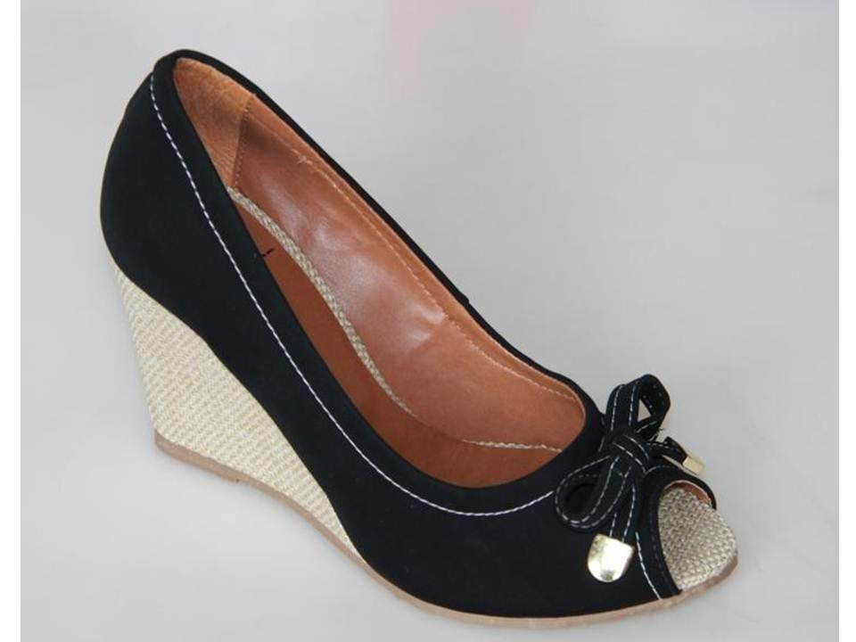 aea8071f01 Sapato Feminino Peep Toe Anabela Nobuck Com Laço - R  49