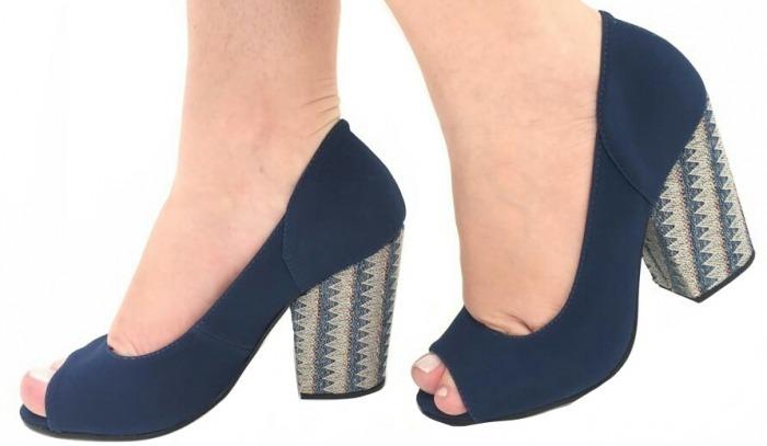 eb6b7b29e5 Sapato Feminino Peep Toe Azul Marinho Salto Grosso Alto 2283 - R ...