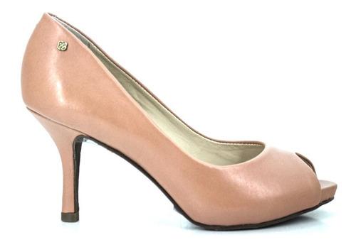 sapato feminino peep toe capodarte em couro bege 4007214