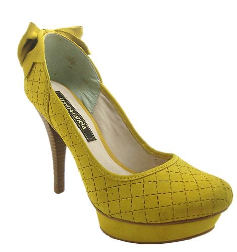 940c5c0aa5 Sapato Feminino Peep Toe Cravo E Canela - Scarpin Amarelo - R  139 ...