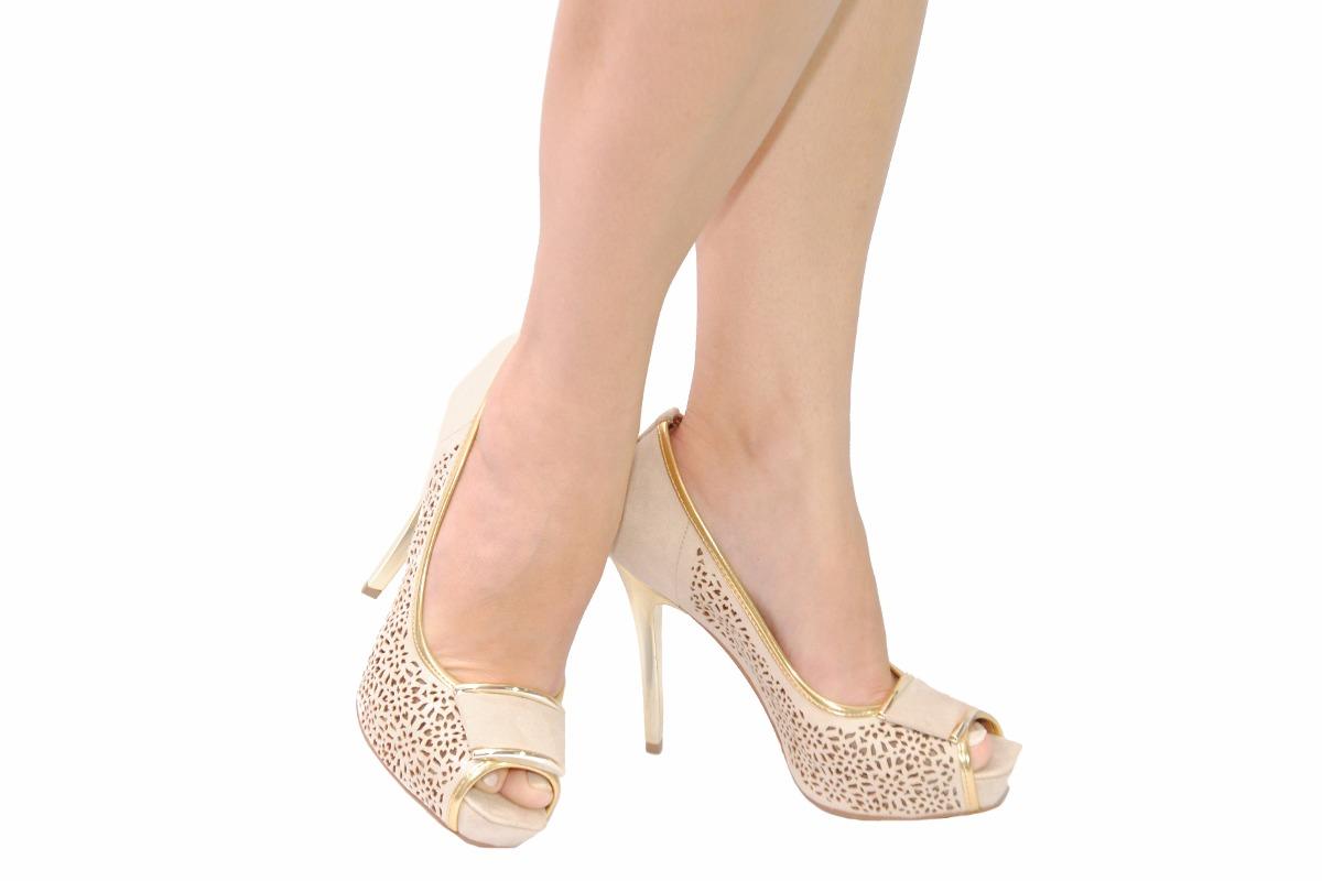 01e91d9581 sapato feminino peep toe plataforma salto bege festa miucha. Carregando zoom .