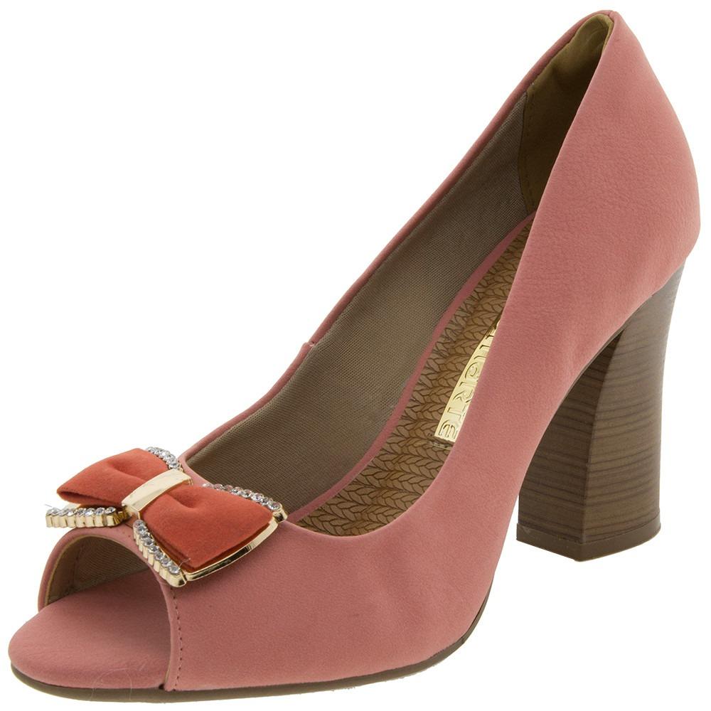 ca5d8903c Sapato Feminino Peep Toe Via Marte Coral Nobuck 9cm - R$ 139,90 em ...
