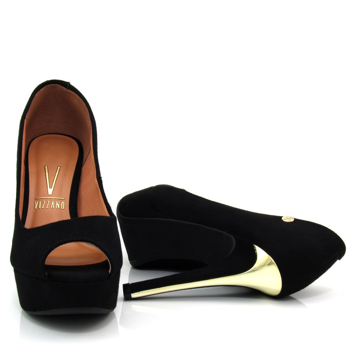 ef7481f10 Sapato Feminino Peep Toe Vizzano 1830100 Camurça - R  69