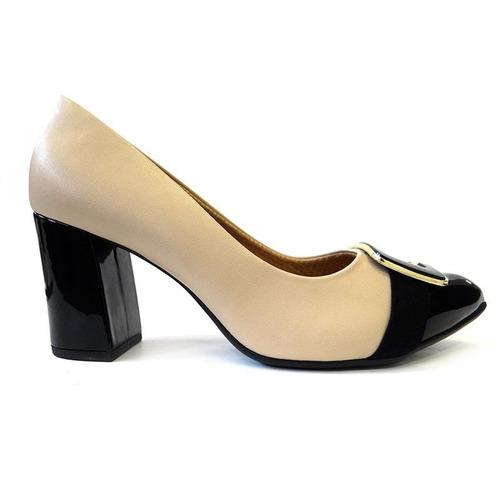 c48f90c21 Sapato Feminino Conforto 746002 - Piccadilly (27) - Bege/pre - R ...