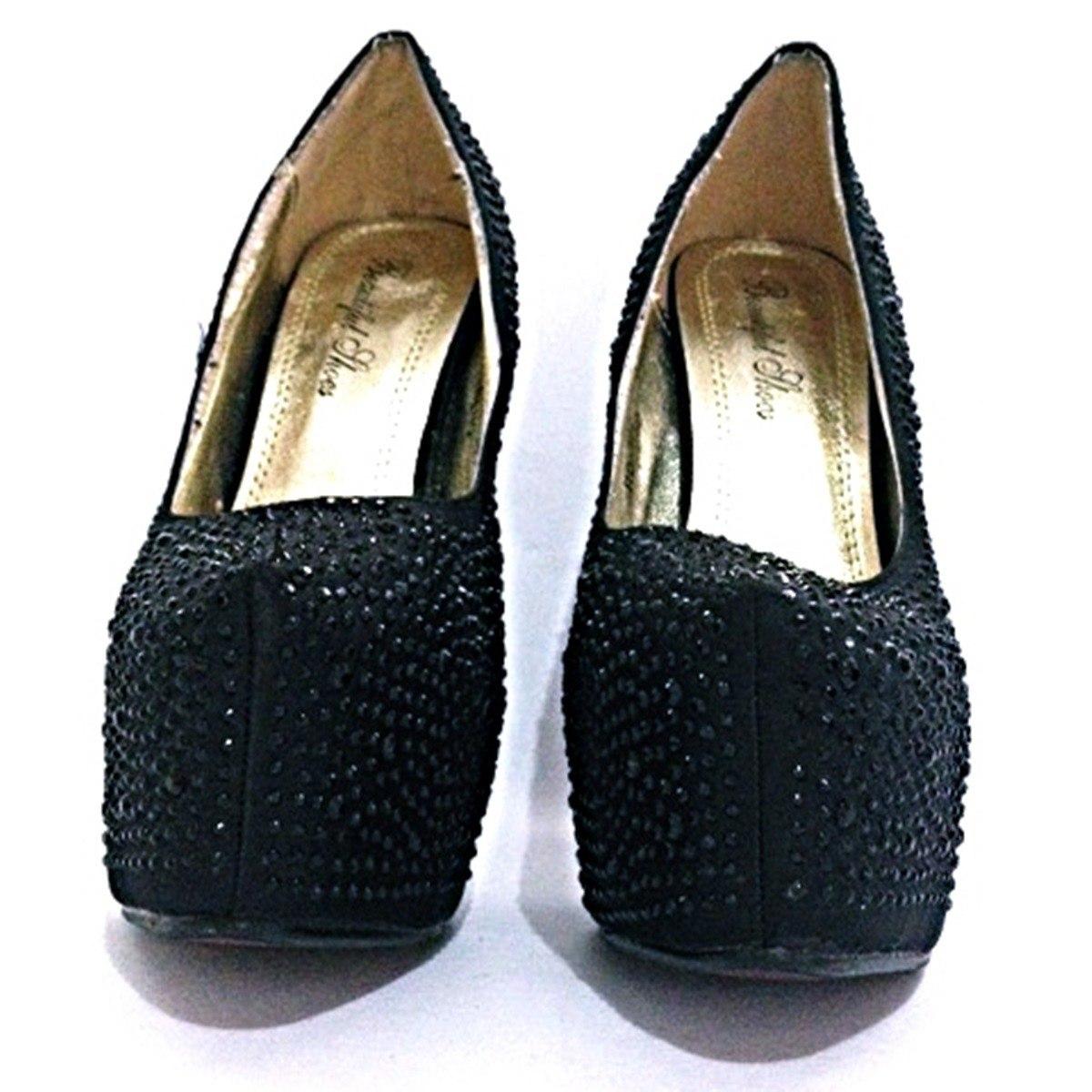992df14ea sapato feminino preto strass festa luxo salto alto -010. Carregando zoom.