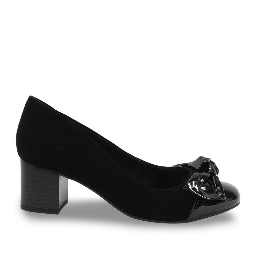 c23c8e9e94 sapato feminino ramarim preto salto bloco com laço 1884105. Carregando zoom.