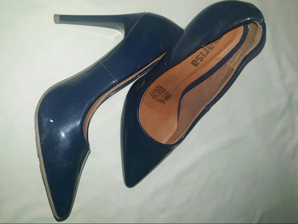 de81299340 sapato feminino salto alto azul marinho bico fino. Carregando zoom.
