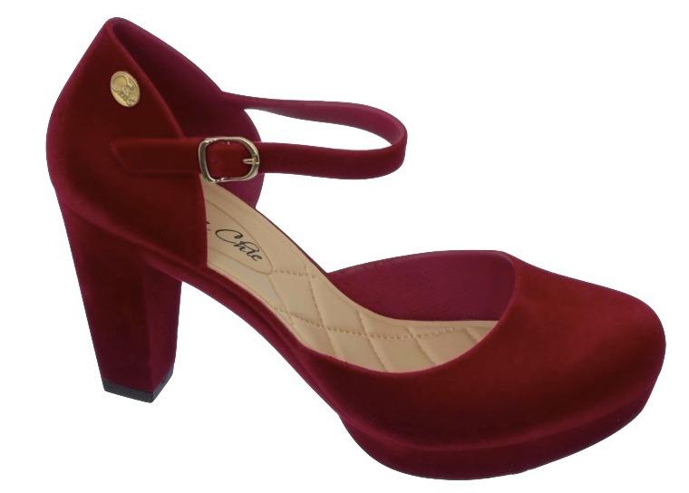 a977d92c5 Sapato Feminino Salto Alto Boneca Carmim Charmosa # Clique+ - R$ 59 ...