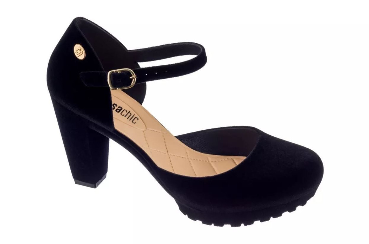 6cc08800c sapato feminino salto alto boneca preto tra charmosa clique+. Carregando  zoom.