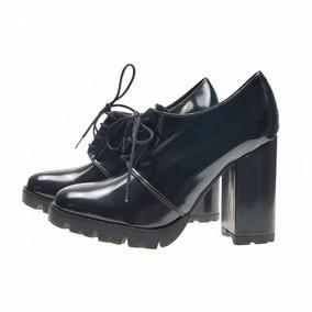 88a37c8157 Sapato Feminino Salto Alto C  Cadarço Verniz Confortavel 405