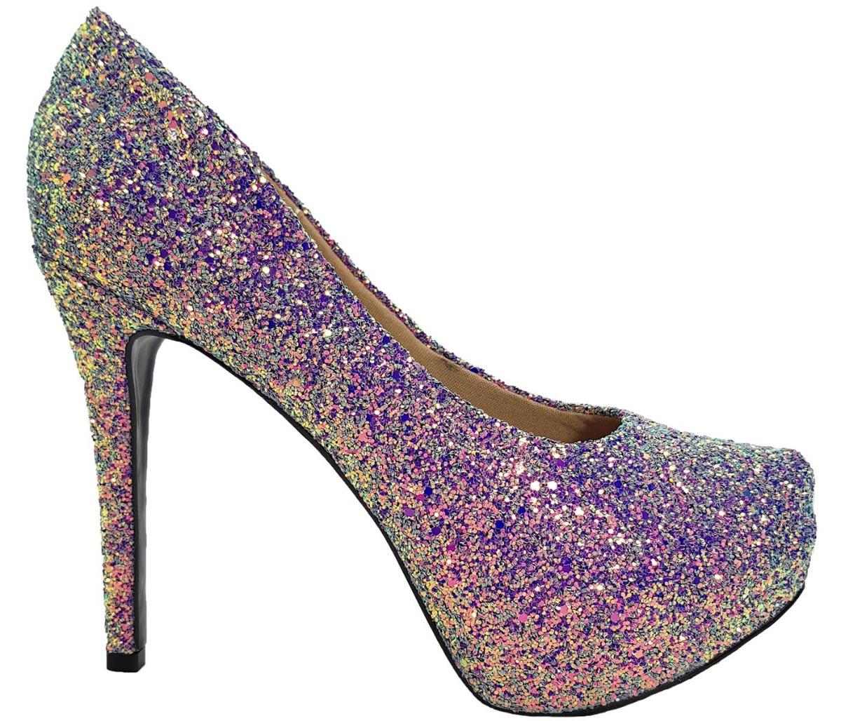 517101cc49 sapato feminino salto alto dom amazona glitter lilas cód 22. Carregando  zoom.
