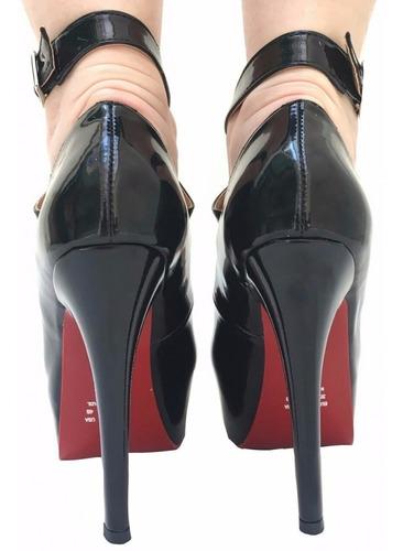 sapato feminino salto alto fino agulha meia pata preto tiras