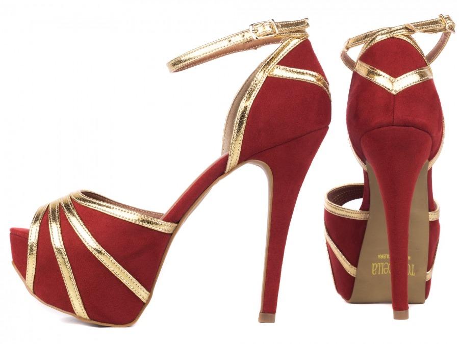 5d9c8bafc sapato feminino salto alto fino meia pata vermelho festas. Carregando zoom.