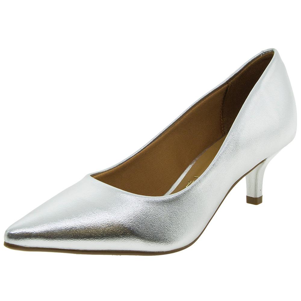 7c78666a49 sapato feminino salto baixo prata vizzano - 1122600. Carregando zoom.