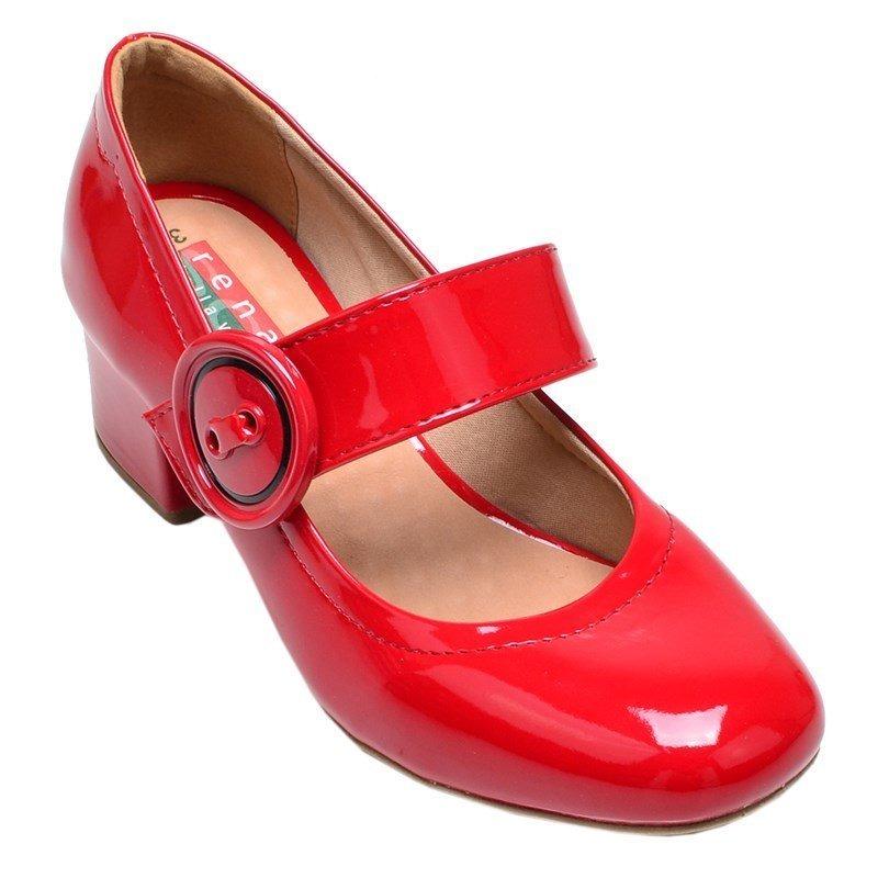 47733ea98 sapato feminino salto baixo renata della vecchia vermelho. Carregando zoom.