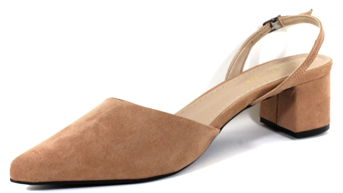 7057477f5a sapato feminino salto grosso baixo em suede nude  vermelho. Carregando zoom.