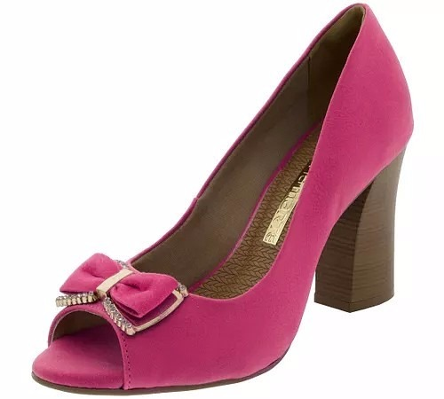 1620c6004 Sapato Feminino Salto Médio Peep Toe Rosa Via Marte - R$ 68,00 em ...
