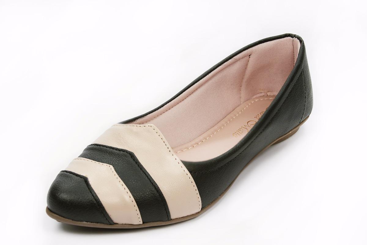 4da71011c sapato feminino sapatilha bico fino preto com nude promoção. Carregando zoom .
