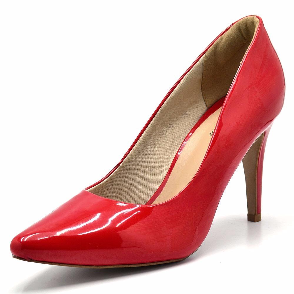 ce44933ce sapato feminino scarpin bico fino calzaph verniz vermelho. Carregando zoom.