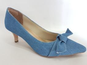 f676e3173 Sapato Feminino Scarpin Jeans Bico Fino Salto Medio 6cm 2018