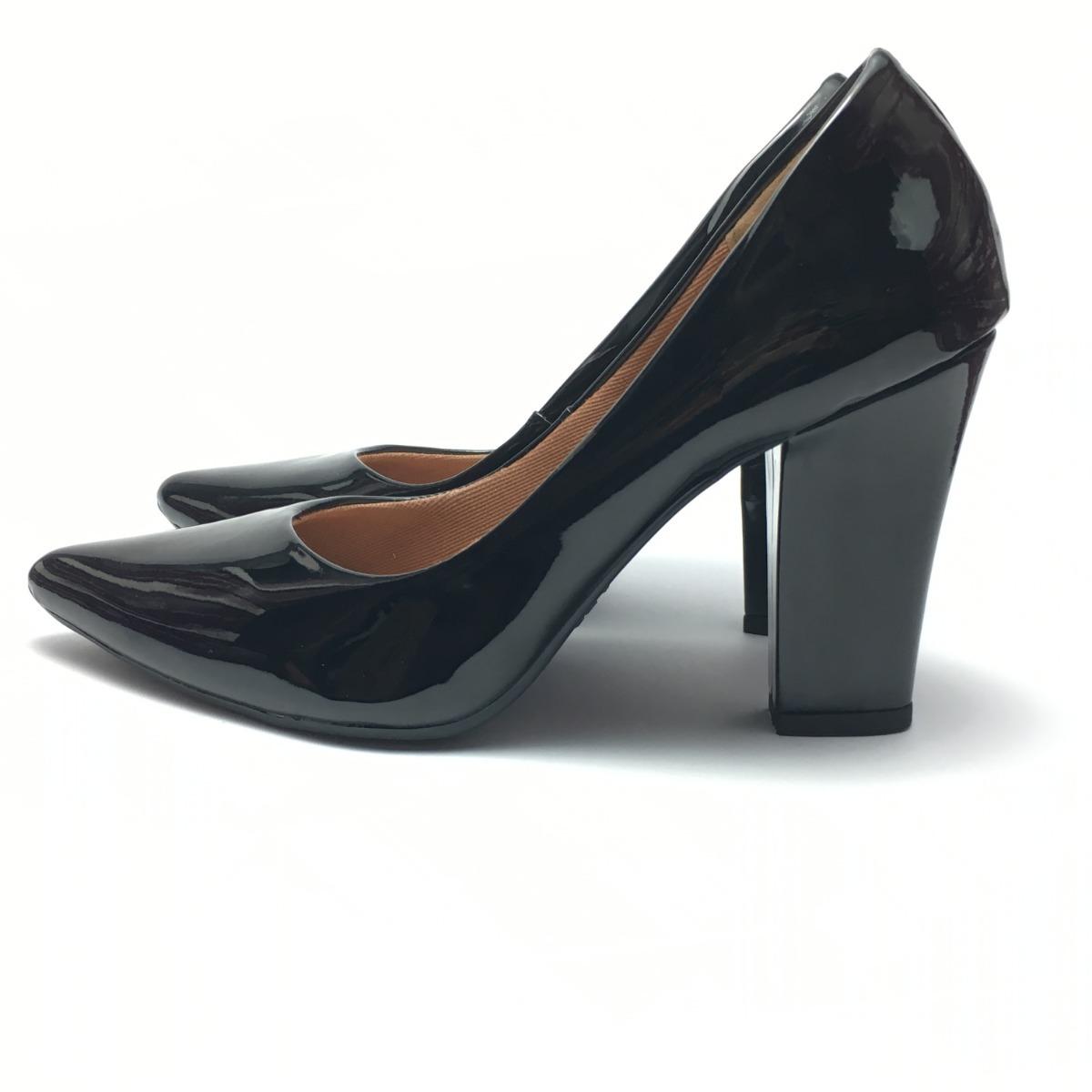 3d83d1f3fb sapato feminino scarpin salto alto grosso 9 cm festa preto. Carregando zoom.
