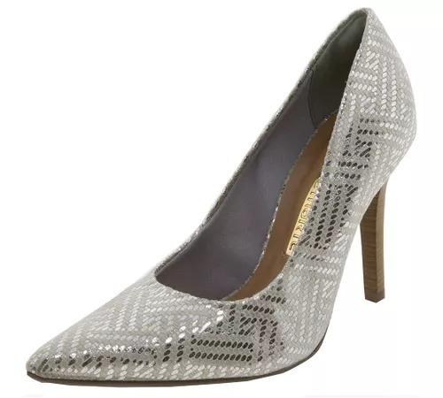abff589d9 Sapato Feminino Scarpin Salto Alto Prata Via Marte - R$ 80,00 em ...