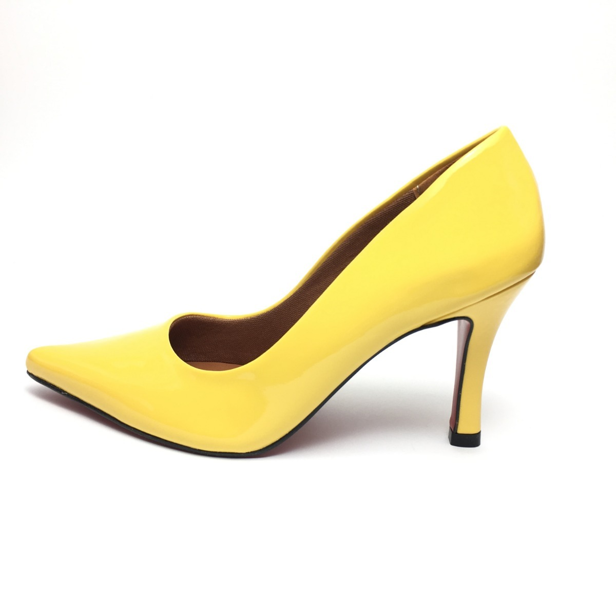 a08a269d27 sapato feminino scarpin salto alto verniz festa nude amarelo. Carregando  zoom.